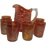 Imperial Grape Marigold Pitcher & 6 Glasses Carnival Glass
