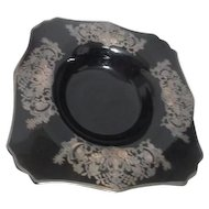 """Black Glass Bowl with Sterling Overlay Design 12"""" Across"""