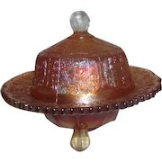 Fenton Marigold Carnival Glass Butterfly & Berry Covered Round Butter Dish