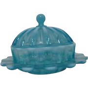 Davidson Opalescent Brideshead/ Blue Pearline Covered Butter Dish Victorian