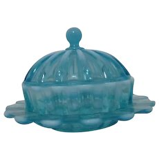 Davidson Opalescent Brideshead/ Blue Pearline Covered Butter Dish Victorian