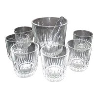 Clear Glass Ice Bucket with 6 Glasses and Stainless Tongs