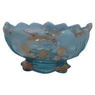 Everglades (Carnelian) Pattern Small Bowl Northwood Glass Opalescent Light Blue