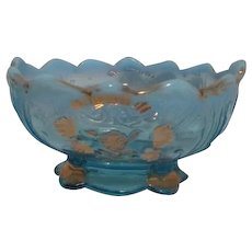 Everglades (Carnelian) Pattern Small Bowl Northwood Glass Opalescent Light Blue