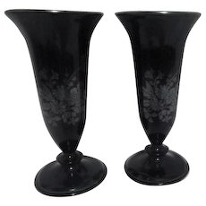 Pair of Black Glass with Sterling Overlay Matching L. E. Smith Trophy Vases