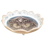 Opalescent Jefferson/Northwood Ruffles and Rings Clear Footed Bowl