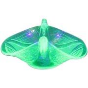 Uranium Light Green Glass Florescent Bowl with Swan Handles