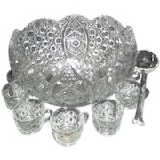 L.E. Smith Daisy and Button Glass Punch Bowl Set 12 Cups and Ladle