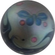 Butterfly and Swirling Waves Glistening Impressionistic Paperweight c1978