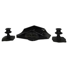 3 Piece Black Glass with Silver Overlay Centerpiece Set Batwing Plate 2 Candlesticks