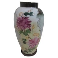 Victorian Bristol Pale blue Vase with Hand Painted Chrysanthemums