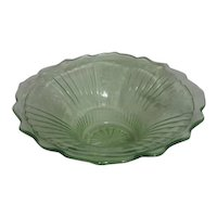 Open Rose Mayfair Pattern Fruit Bowl by Hocking Glass 1931-1937 Uranium Glass