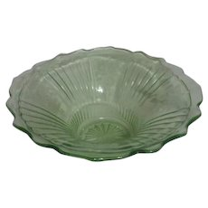 Open Rose Mayfair Pattern Fruit Bowl by Hocking Glass 1931-1937 Uranium Glass
