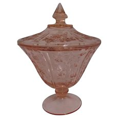 Federal Glass Rose of Sharon Pink Covered Candy Dish
