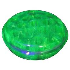 Uranium Florescent Green Glass Flower Frog