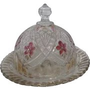 EAPG Round Glass Covered Butter Dish with Hand Painted Violets