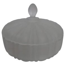 White Frosted Lidded Glass Candy Dish