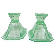 Pair of Green Uranium Florescent Glass Candle Holders