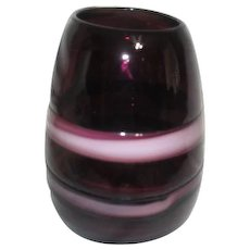 Amethyst Art Glass Vase with Lavender Bands