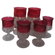 Kings Crown Thumbprint Ruby Red Flash Set of 2 Water Goblets and 4 Wine Goblets