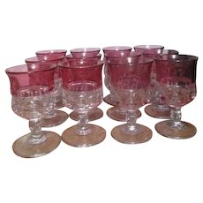 Set of 12 Cranberry King's Crown Thumbprint Water Goblets