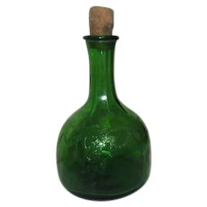 Green Embossed Glass Antique Whole House Vinegar Bottle