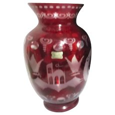 "10 1/2"" High Egermann Ruby Acid Cut to Clear Vase Czech Republic"