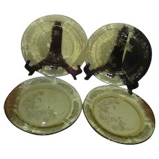 Set of 4  Amber Federal Rose of Sharon Dinner Plates