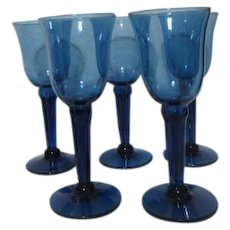 Set of 5 Blue Hand Blown Long Stemmed Wine Glasses