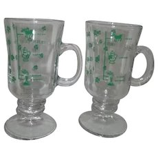 Pair of Irish Coffee Mugs with Shamrocks