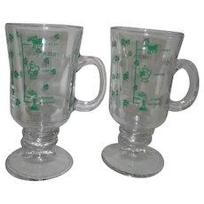 Pair of Irish Coffee Mugs with Shamrocks