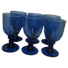 Set of 6 Hand Blown Blue Water Goblets