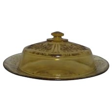 Federal Glass Rose of Sharon Amber Round Covered Cheese Dish