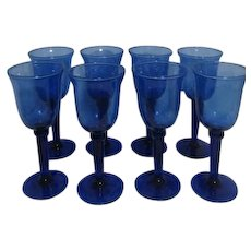 Tall Blue Glass Water/Wine Goblets