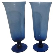 Pair of Hand Blown Blue Vases or Display Phials
