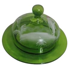 Mary Gregory Style Round Green Covered Butter Dish