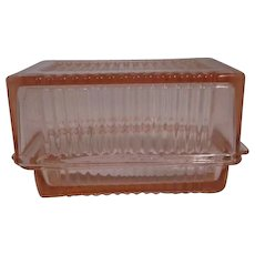 Federal Glass Pink Ribbed One Pound Butter Dish with Lid