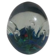 Art Glass Paper Weight Elongated Bubbles Bright Color Swirls