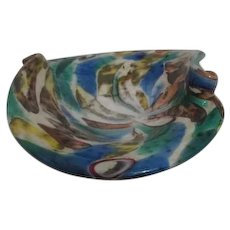Multi-colored Art Glass Bowl with Twists
