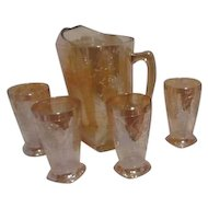 Jeannette Floragold Iridescent  Pitcher with 4 Glasses Louisa