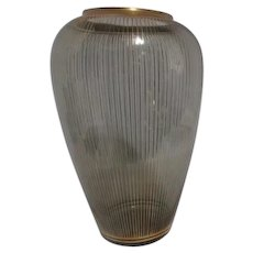 West German Glass Vase with Gold Overlay Stripes