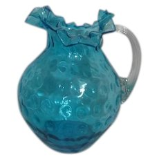 Blue Glass Hand Blown Thumbprint Pitcher with Ruffled Edge