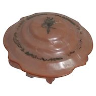 Satin Pink Powder Jar with Faux Marble Lid