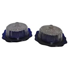 Pair of Imperial Kraft Cobalt Blue Covered Cheese Dishes