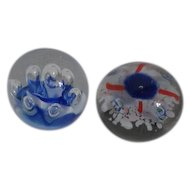 Pair of Art Glass Globe Shaped Paperweights