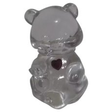 Fenton February Clear Glass Bear with Amethyst Heart