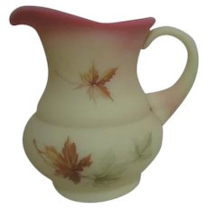 Fenton Burmese Small Pitcher with Autumn Leaves