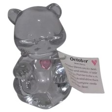 Fenton Glass Birthday Bear for October