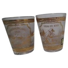 Set of 2 22k Gold Overlay Shot Glasses by Culver