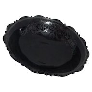 Mt Pleasant, Double Shield Black Glass Bowl with Sterling Silver Overlay